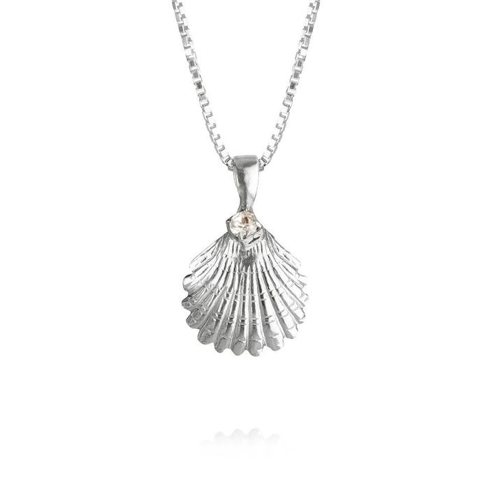 Shell Necklace Rhodium Crystal