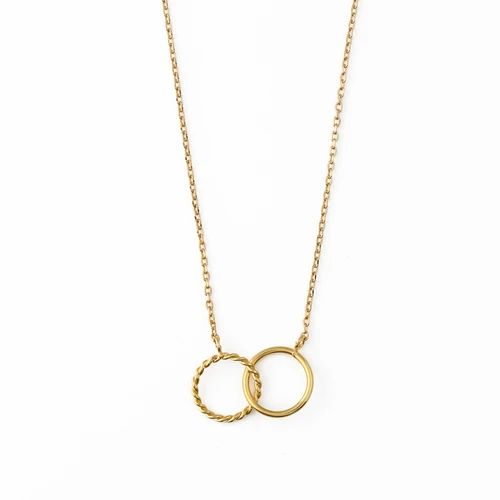Rope Double Ring Necklace -  Gold