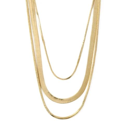 Snake Chain 3-Row Neclace -  Gold